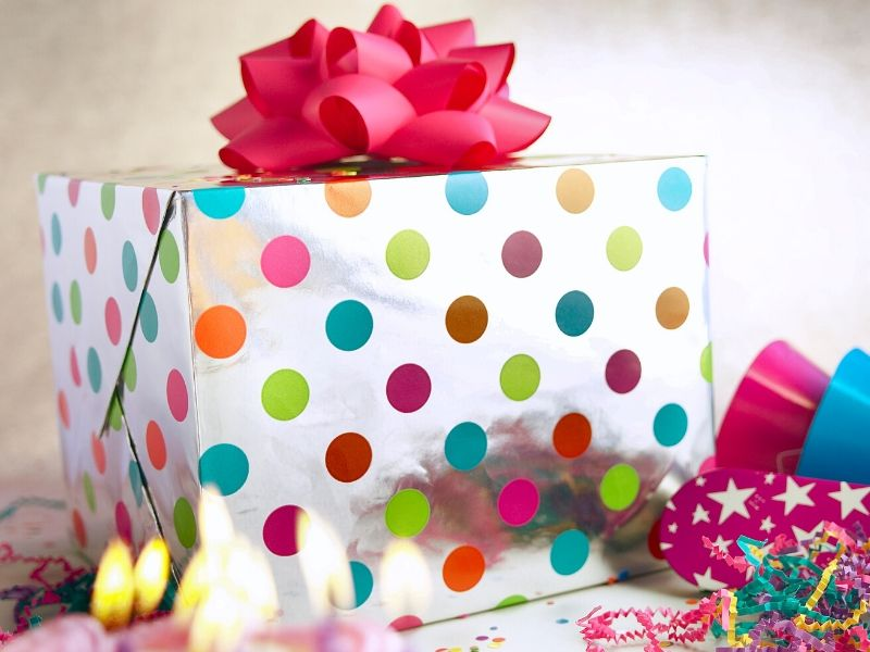 Colorful wrapped birthday gift box
