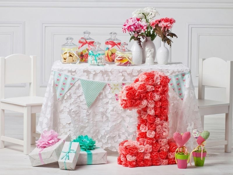 Table decorated for 1st birthday party